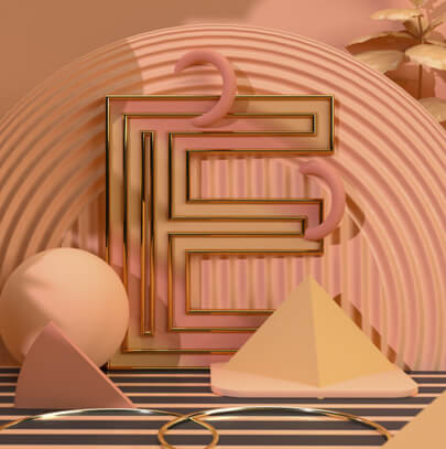 Letter E in 3D with gold lines - modern design trend in 2021