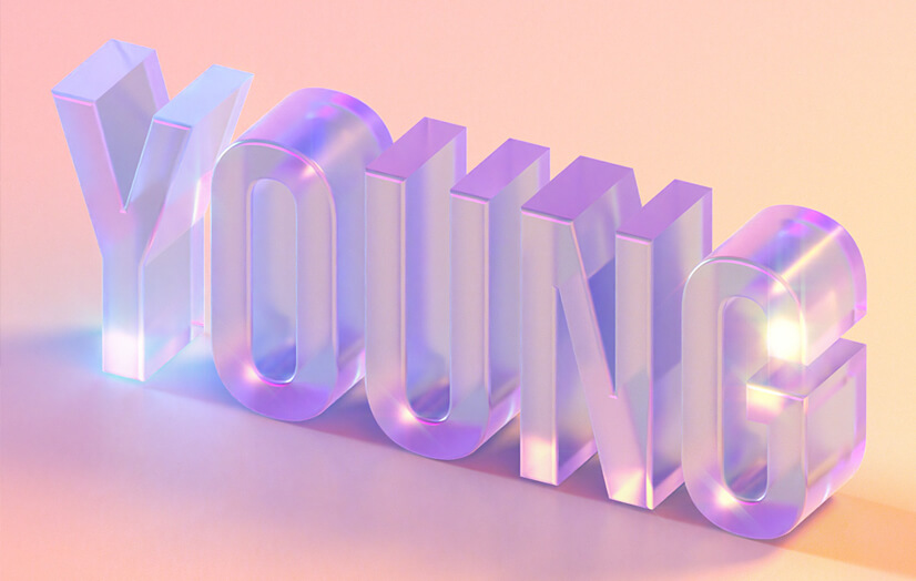 YOUNG 3D glass creative typography design
