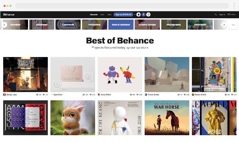1 inspiración para el diseño web Behance