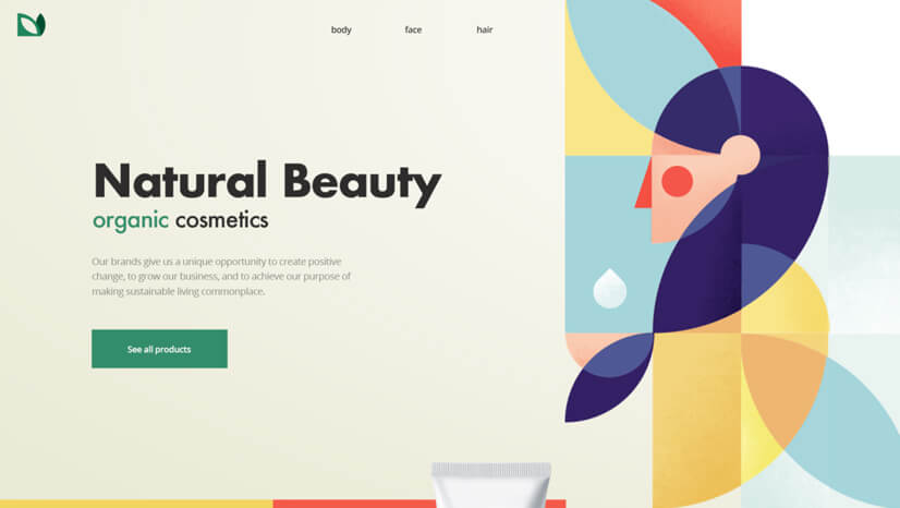Geometric shapes illustration in web design