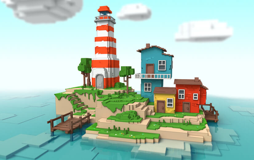 Island illustration design in voxel-pixel style - trending in 2021.jpg