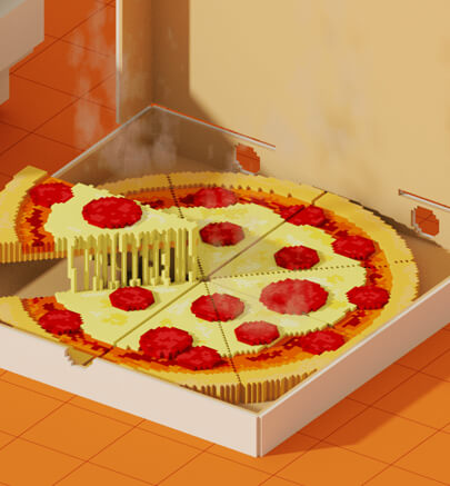 Voxel style art trend in 2021 - Pizza