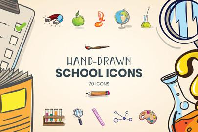 Hand Drawn School Icons Set