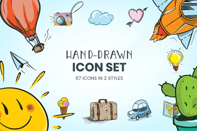 Cartoon Hand-Drawn Icons Set
