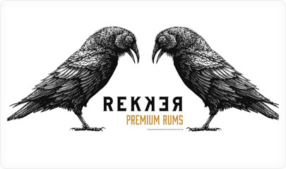 Rekker Rum Logo Design with ink style in 2021