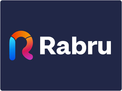 Rabru Modern initial logo design with fresh vivid colors