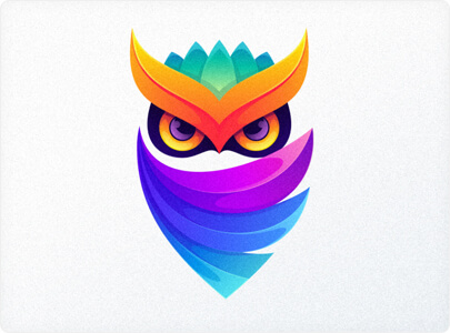Colorful Owl logo design in 2021 example