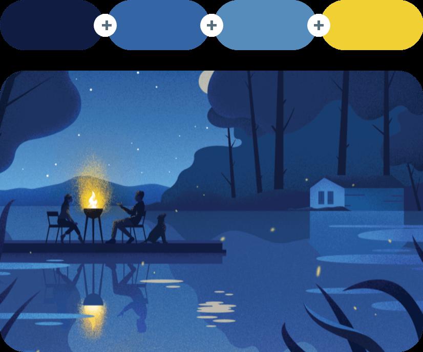 Blue Zodiac +Azure +Steel Blue +Golden Dream - Blue Combination