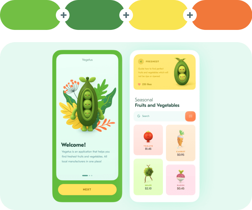 Sushi +Fruit Salad +Energy Yellow +Jaffa - Green Combination