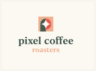 Pixel Coffee Logo Design With Basic Shapes in 2021
