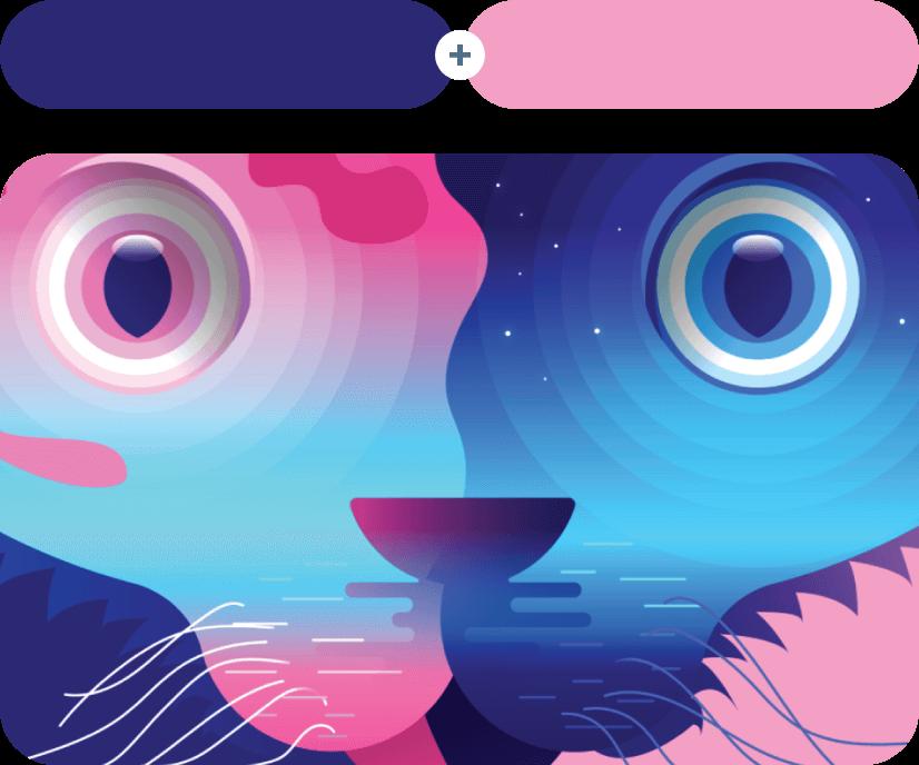 Astronaut + Illusion - Blue Combination