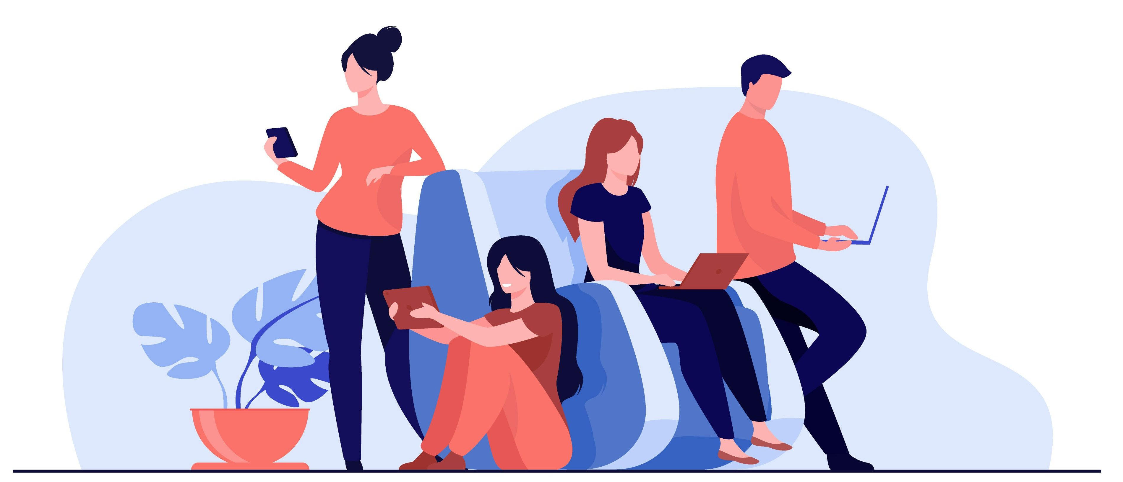illustration of online readers with devices