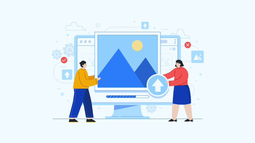 Illustration wo people holding and image in front ot computer - illustrating optimizing images for SEO
