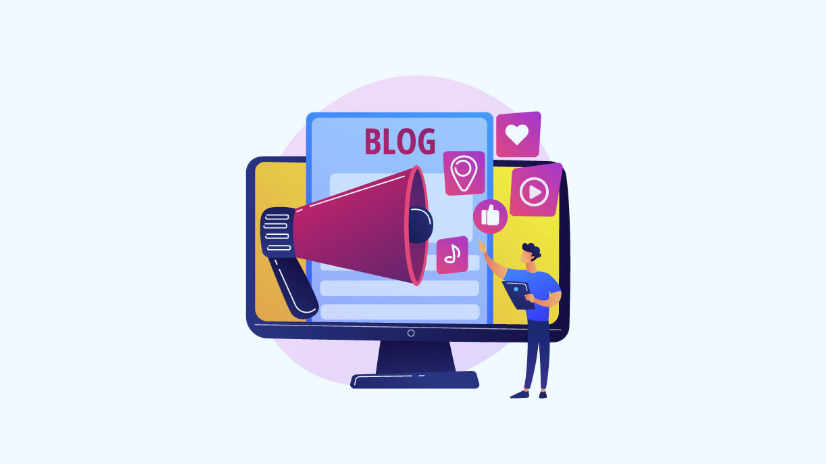 illustration of promoting a blog