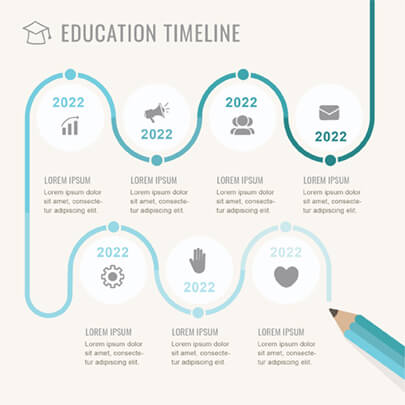 Free Education Stages Timeline Infographic Template - Light