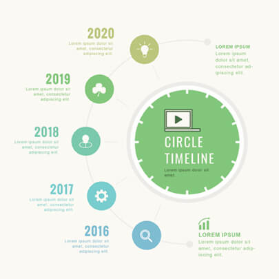 Free Circle Timeline Infographic Template - Light