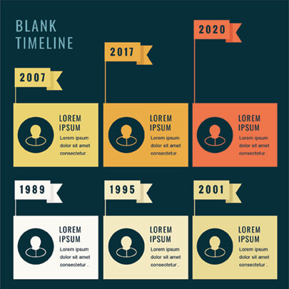 Free Timeline Infographic Template with Flags - Dark