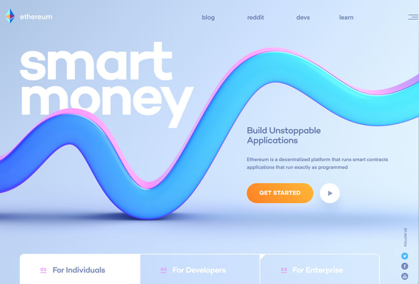 Smart-Money-website design example with Blue and Purple colors