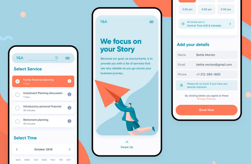 Mobile app design with teal and orange modern color combination