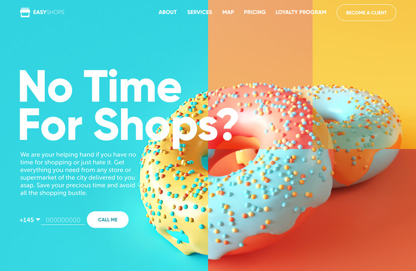 online shop web design with teal and orange combination to try in 2021