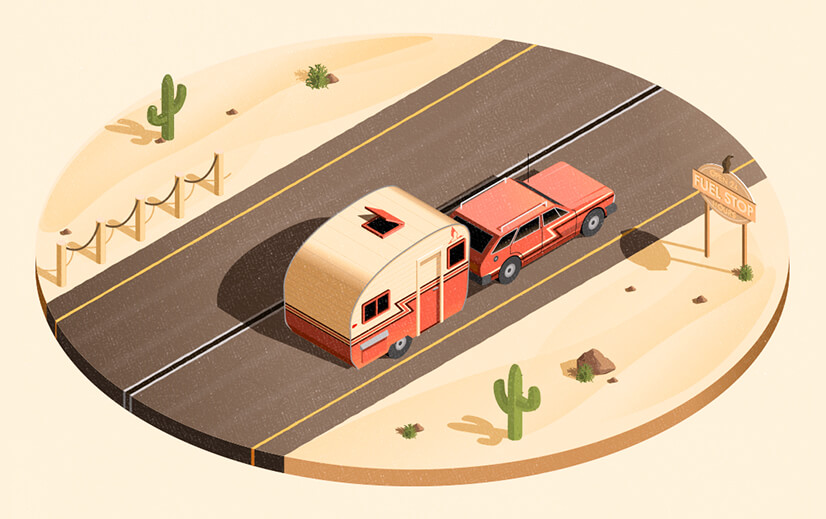 Modern Style graphic design illustration with warm colors
