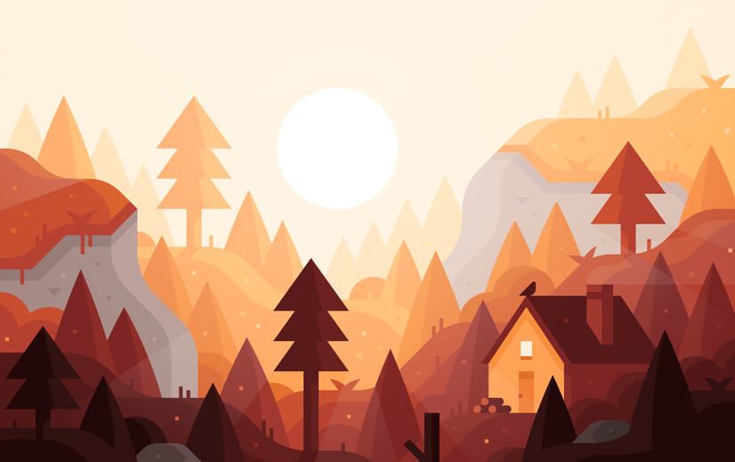 Landscape background with warm colors