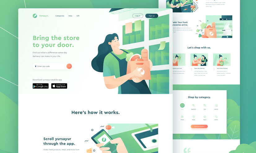 Website design with nature style illustrations