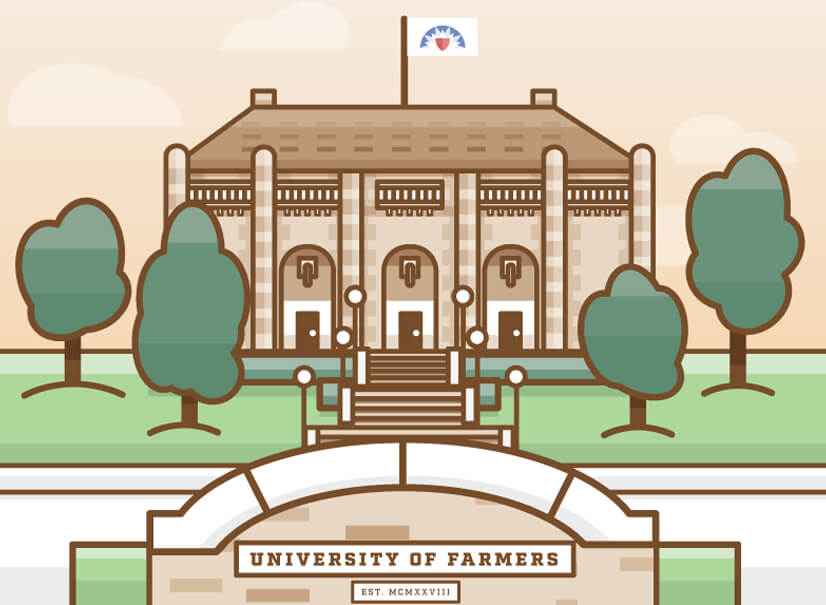 University educational graphic with muted and natural colors
