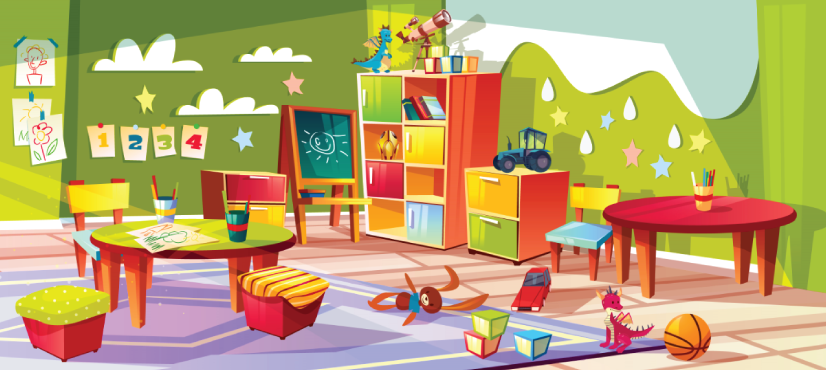 kindergarten class room character animator background