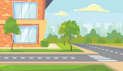 school building character animator background
