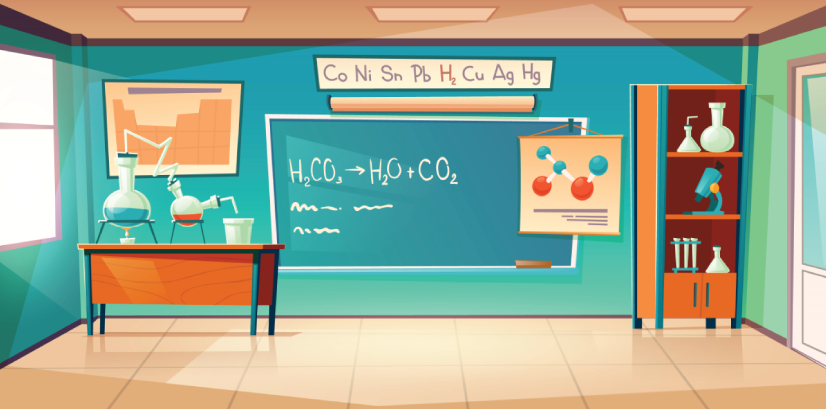 chemistry class room with lab equipment character animator background
