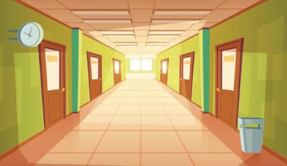 school hallway character animator background