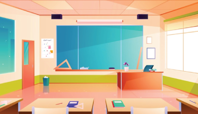 math room character animator background