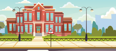 school building with fence character animator background