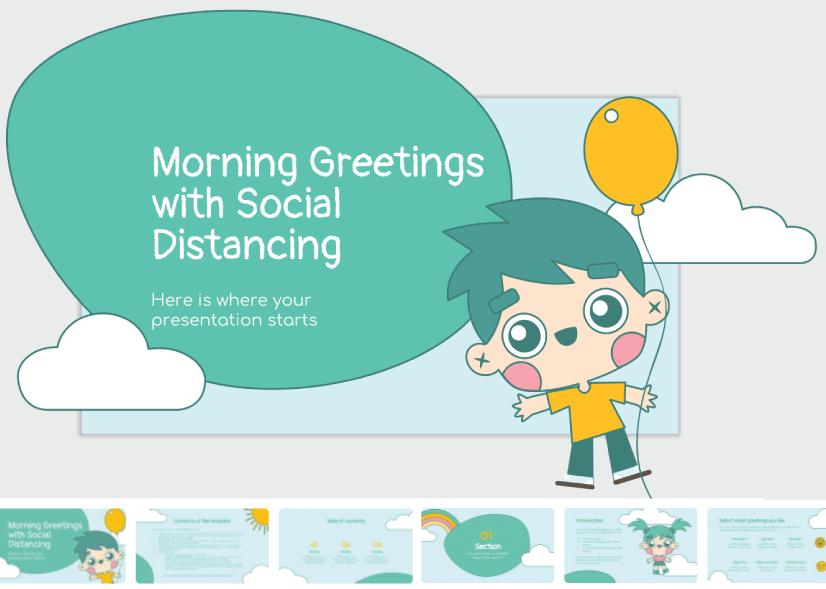 Free Cute Cartoon Social Distancing Presentation for Kids