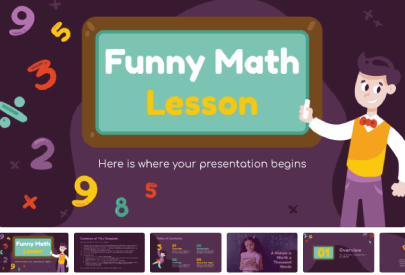 Free Funny Math Lessons for Children PPTTemplate