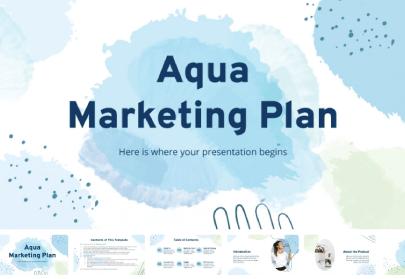 Free Aqua Marketing Plan Presentation Template
