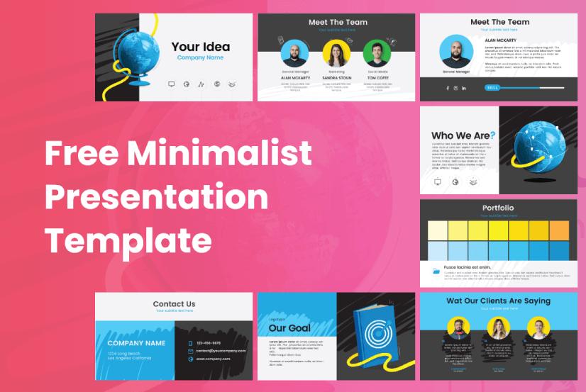 Free Minimalist marketing presentation template by GraphicMama