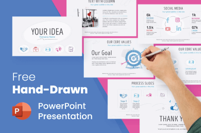Free Hand-Drawn PowerPoint Marketing Presentation Template by GraphicMama