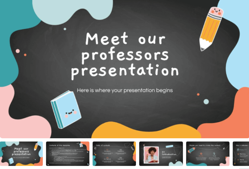 Meet Our Professors free education powerpoint templates