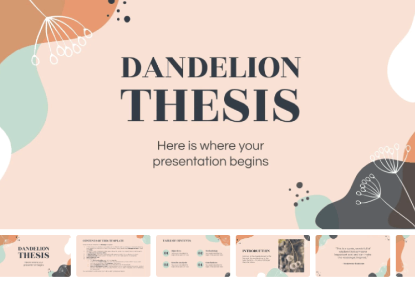 Dandelion Thesis free education powerpoint template
