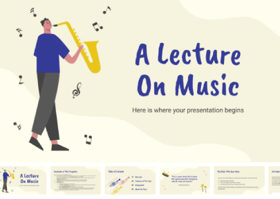 A Lecture on Music free education powerpoint template