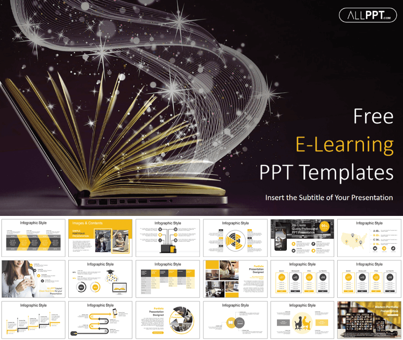 E-Learning free education powerpoint template