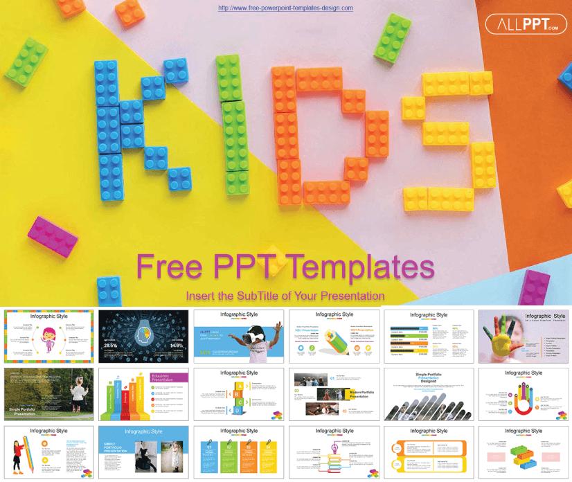 Kids Alphabet Blocks free education powerpoint template