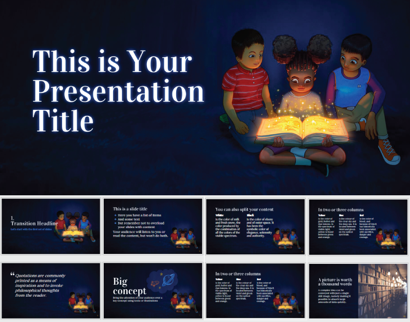 Reading is Magical free education powerpoint template