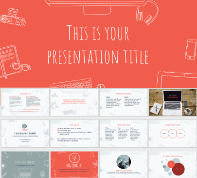 desk presentation free education powerpoint template