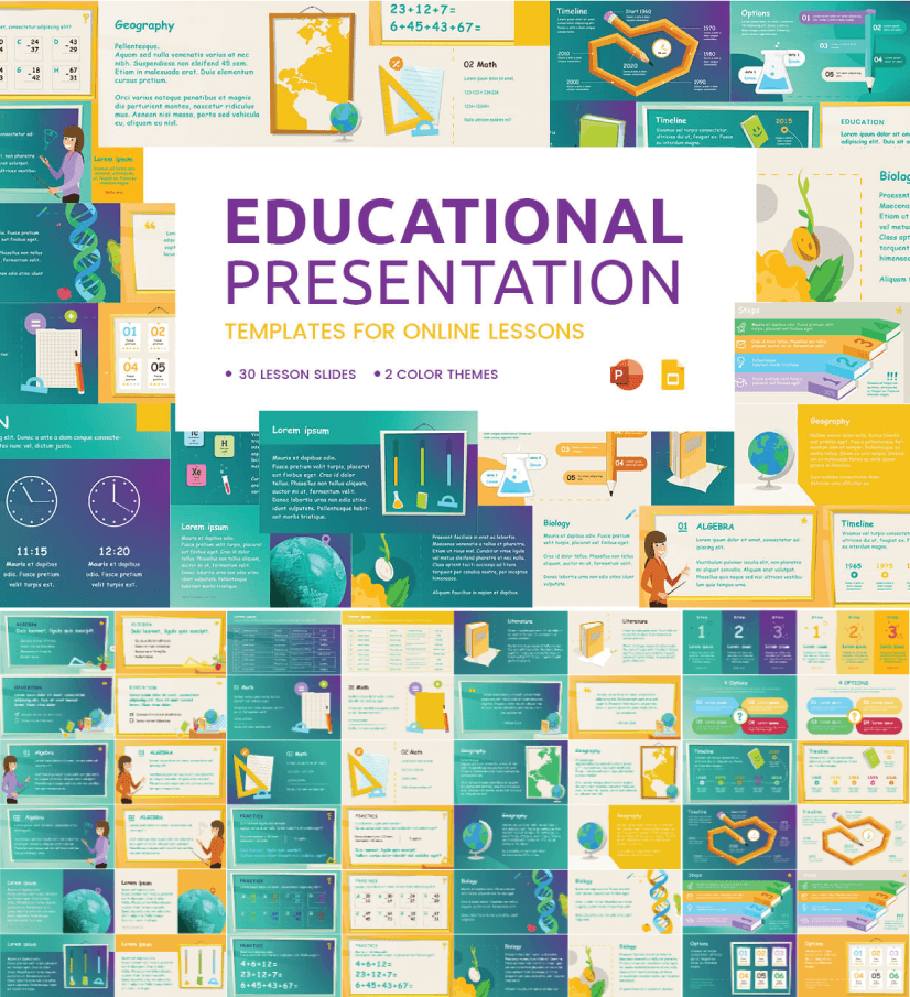 Free Online Lessons Presentation free education powerpoint template