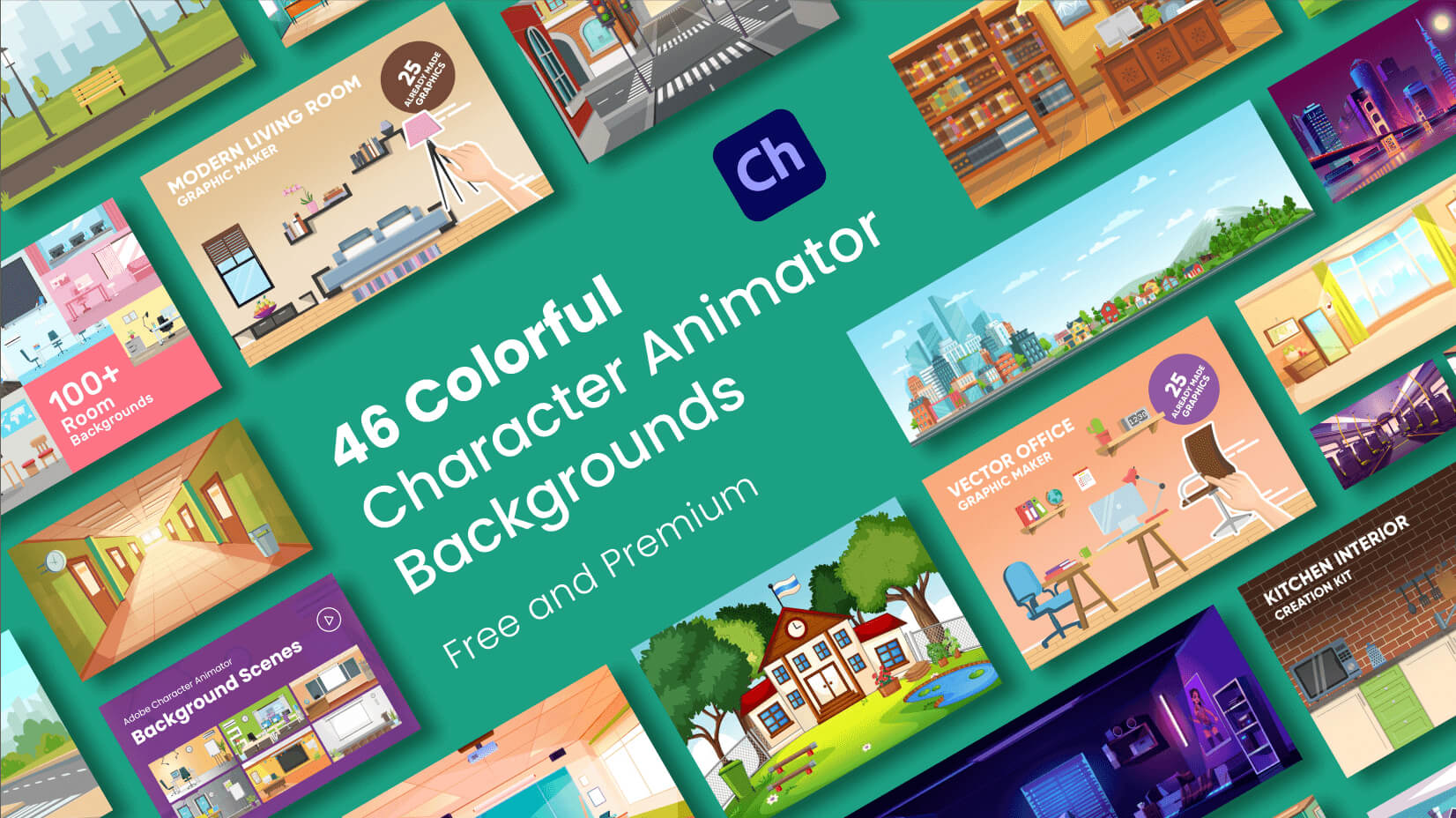46 Colorful Free and Premium Adobe Character Animator Backgrounds