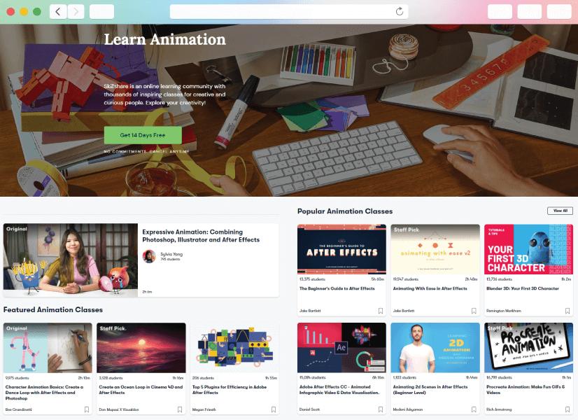 learn animation online courses platform skillshare