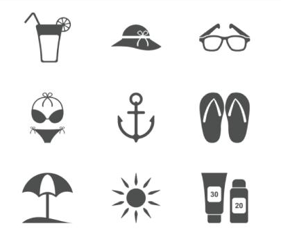 Free Beach Minimalist Icons
